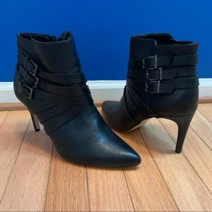 BCBGeneration Zing Black Leather Heeled Booties